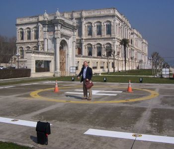Helicopter pad next to the Kempinski-Ciragan Palace in Istanbul, Turkey