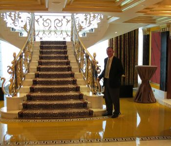 Inspecting one of the iconic Burj Al Arab hotel's VIP suites in Dubai, UAE