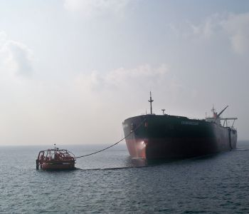 A VLCC Tanker taking on a load of crude oil off the ADCO Terminal of Jebel Dhanna.