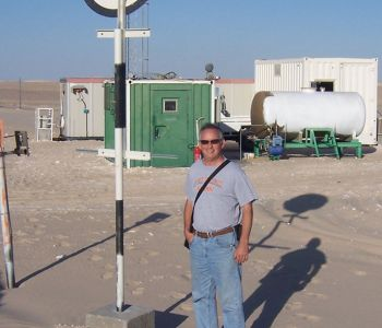 "At intermediate pumping station KK on the 72 km Abu Attifel pipeline across Libya's ""Great Sand Sea"""