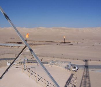 View from a communications tower across the Libyan desert in Abu Attifel [photo by Charles Goslin]
